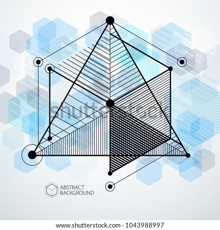Lines and shapes abstract vector isometric 3D blue background. Abstract scheme of engine or engineering mechanism. Layout of cubes, hexagons, squares, rectangles and different abstract elements.
