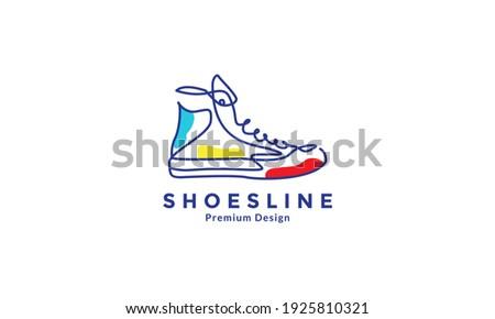 lines art abstract color shoes sneakers logo design vector icon symbol illustration Foto d'archivio ©