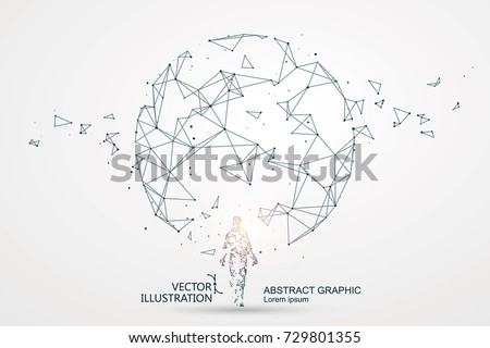 Lines connected to Science fiction scene, symbolizing the meaning of artificial intelligence.