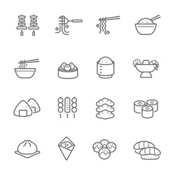 Lines icon set - Eastern food