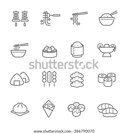 lines icon set   eastern food