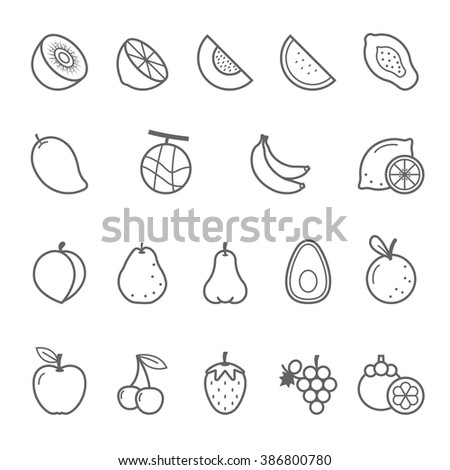 Lines icon set - fruit