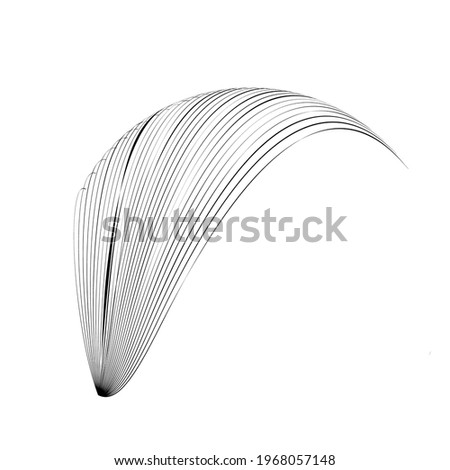 Lines in unusual Form . feather Vector Illustration .Technology round. Wave Logo . Design element . Abstract Geometric shape .