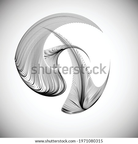 Lines in unusual Form . Sphere Vector Illustration .Technology round. Wave Logo . Design element . Abstract Geometric shape .