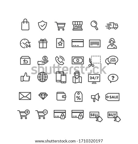lines style web icons set  E-commerce shopping commercial icons set vector illustration Modern Clean