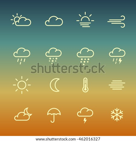 Lines weather forcast Icon set on gradient background.