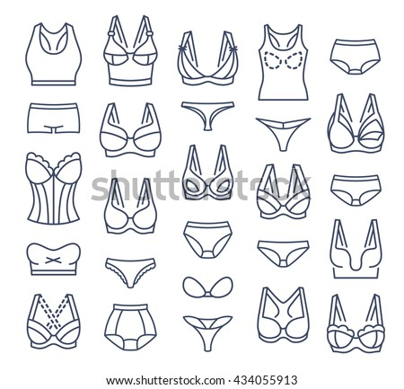 Lingerie fashion infographic elements. Female underwear linear collection. Bra design and panties styles vector flat thin line icons set. Woman wardrobe garments. Various clothes isolated symbols