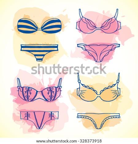 lingerie hand drawn set vector