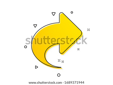 Link Arrowhead symbol. Share arrow icon. Communication sign. Yellow circles pattern. Classic share icon. Geometric elements. Vector