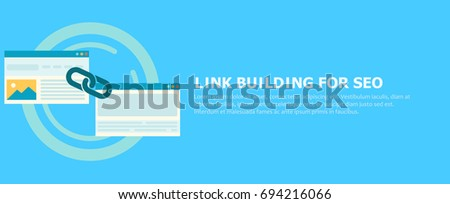 Link building for seo banner. Two pages are connected by a chain. Vector flat illustration