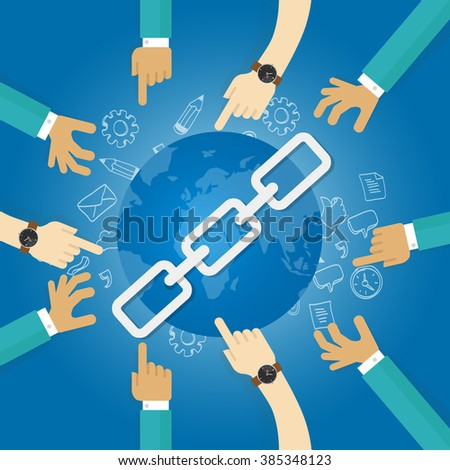 link building seo search engine optimization world connect hands blue