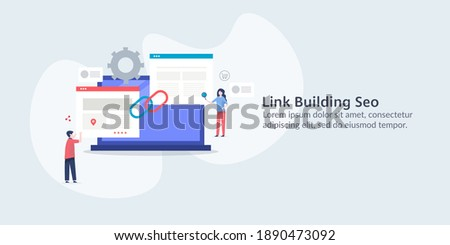 Link building SEO, Website Link building, SEO marketing, Link popularity - conceptual vector illustration with icons