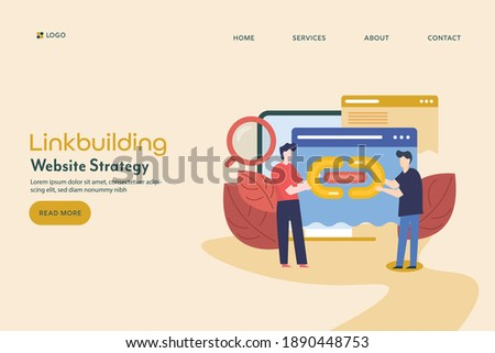 Link building strategy, Website marketing, SEO link popularity, Link request - conceptual landing page vector illustration