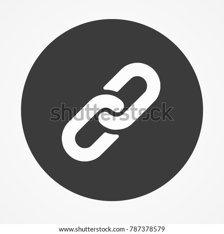 Link icon in circle. Chain logo. Vector illustration on white background.