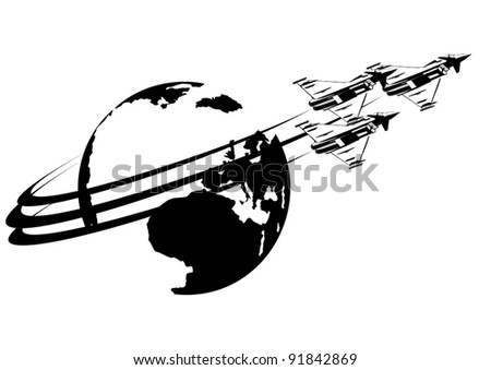 Link military fighter against Earth. Black and white illustration.