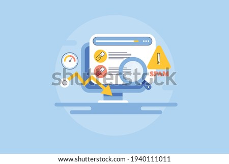Link profile, link building, link spamming, content spam, negative SEO - conceptual vector line illustration with icons Сток-фото ©