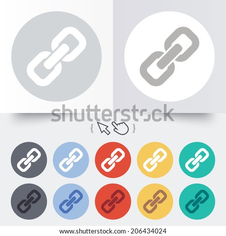 Link Sign Icon. Hyperlink Chain Symbol. Round 12 Circle ...