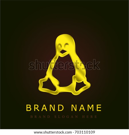 linux golden metallic logo