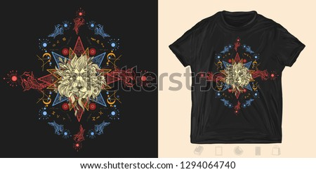 Lion and carps. Print for t-shirts and another, trendy apparel design. Concept of magic, astrology. . Alchemy, religion, spirituality and occultism art