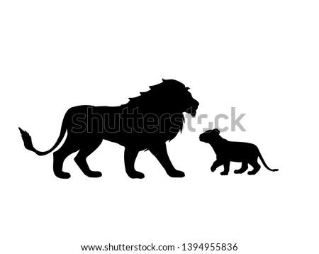 Lion and lion cub predator black silhouette animal. Vector Illustrator.