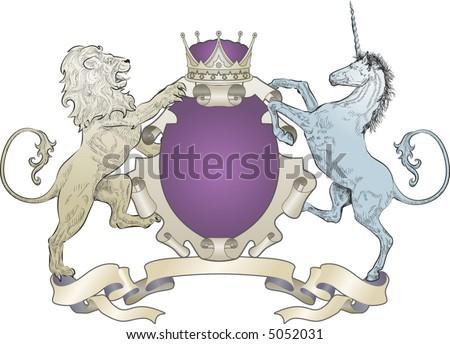 Lion And Unicorn Coat Of Arms (No Leaves) A Shield Coat Of Arms ...
