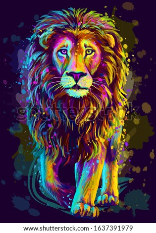 lion artistic  neon color