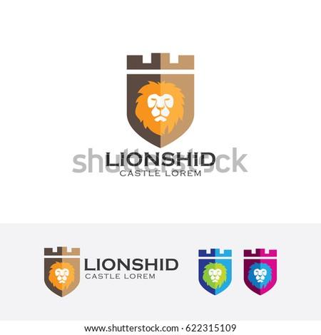 lion castle  vector logo
