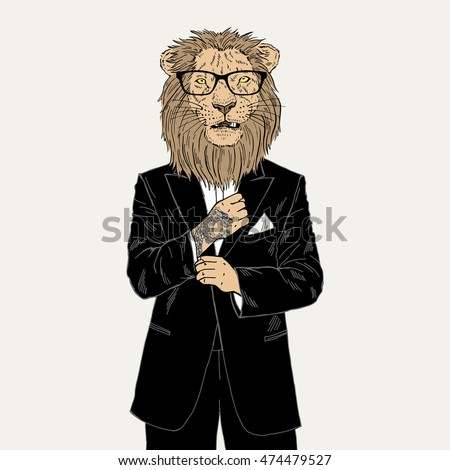 lion dressed up in tuxedo with