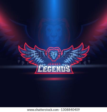 Lion Eagle Wings Esport Logo Template. Jersey Legends. Vector.