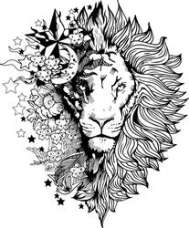 Lion face tattoo vector graphic clipart design