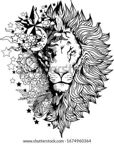 Lion face tattoo vector graphic clipart design Foto d'archivio ©