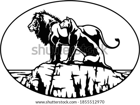 Lion Family, African landscape Wildlife, Wildlife Stencils - Forest Silhouettes for Cricut, Wildlife clipart, png Cut file, iron on, vector, vinyl shirt design.
