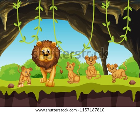 Lion family in nature illustration #1157167810