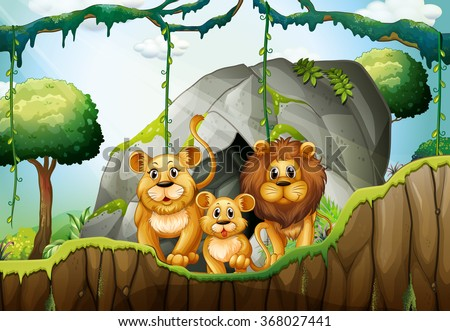 lion family living in the
