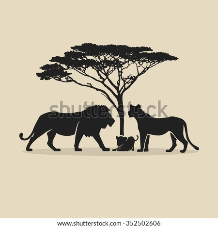 lion family   vector