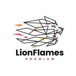 lion fire flame geometric polygonal logo vector icon illustration