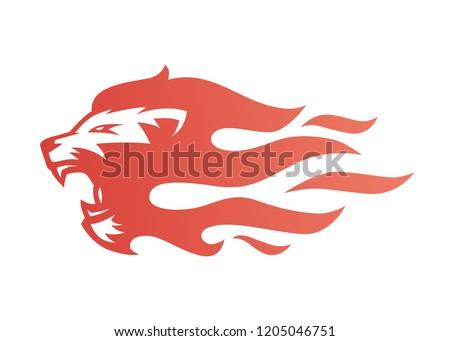 lion fire flame logo vector