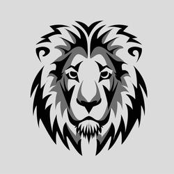 Lion Head black and white  Icon