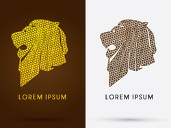 Lion Head, Face, side view, designed using line geometric, logo, symbol, icon, graphic, vector .
