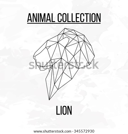Lion Head Geometric Lines Side View Silhouette Isolated On ...