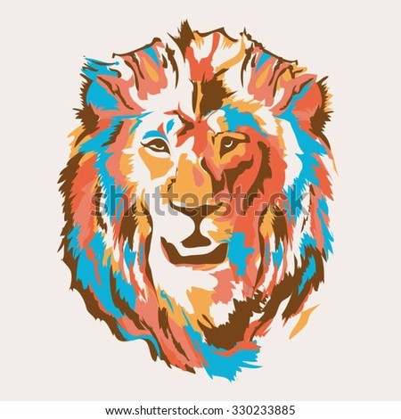 lion head illustration  t shirt