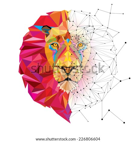lion head in geometric pattern