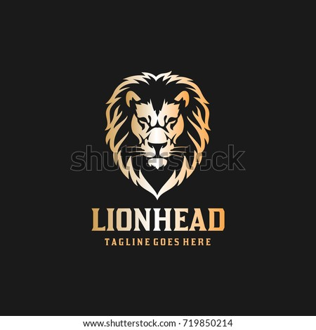 lion head logo   black