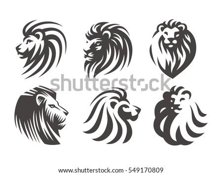 Lion head logo set - vector illustrations, emblem design on white background.
