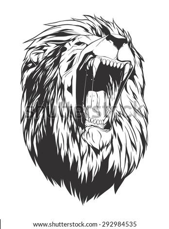 lion head monochromatic logo