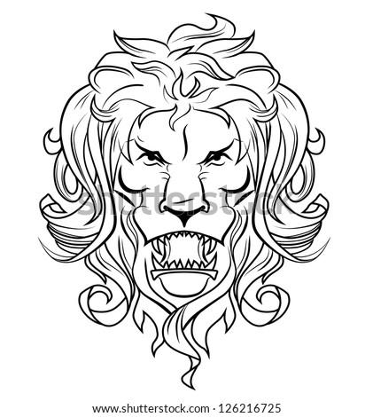 Lion head sketch - stock vector