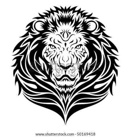 stock vector : Lion head tattoo/emblem