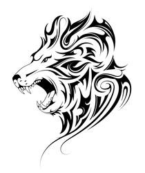 Lion head tattoo in tribal art style