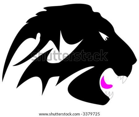 stock vector : Lion head tattoo (vector)