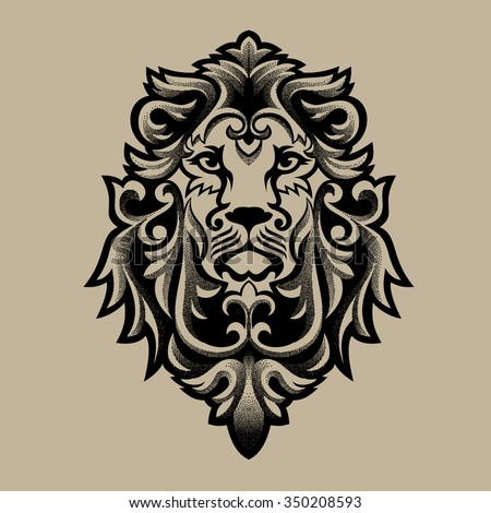 lion head tribal tattoo